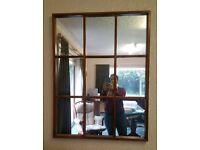 Rectangular 9 pane teak mirror