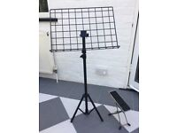Music stand and guitar foot stool