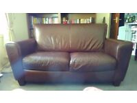 Two-seater Brown Leather Couch / Sofa