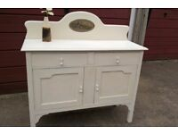 Vintage 1940's Oak sideboard hand painted 'Antique White' with wax finish