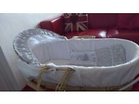 Moses basket with stand - white and grey stars