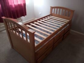 Captains Single Bed Frame with Trundle and Storage (Jacob's)