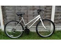 Ladies silver and white mountain bike