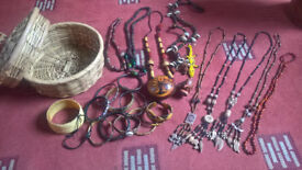 African jewellery and woven basket