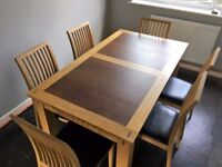 Dining room table and 6 chairs (Extendable Table)