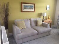DFS Freya sofa, large swivel chair and footstool.