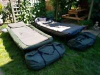 2 Wide boy bedchairs with 2 all weather sleeping bags for sale