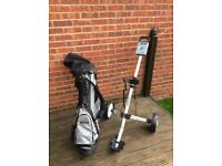 Set of RAM Golf Clubs with universal trolley.