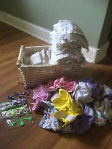 Huge lot of newborn prefolds and accessories