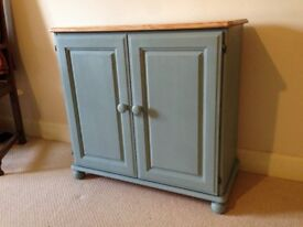 Double Door Pine Cupboard - Painted in Annie Sloan 'Duck Egg'