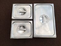 Three Stainless Steel Bain Marie pan inserts