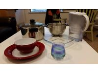 Plates, bowls, glasses, colander, carafe, stewpot, baking dish