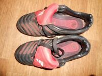 ADIDAS FOOTBALL BOOTS uk size 2 (Eu 34) black- red - white