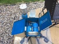 Camping gas stove, lamp and canisters