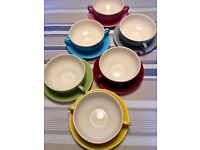Multi-coloured French Style Coffee Cups & Saucers, Vintage Meakin 1970's (or could be used for Soup)