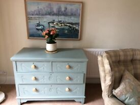 Antique chest of drawers painted duck egg blue