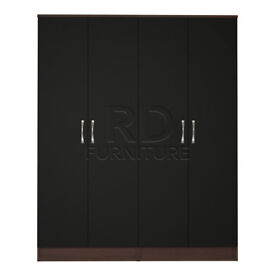 Cornwall 4 door wardrobe walnut and black
