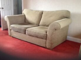 Three seater bed settee & matching two seater sofa. Olive green/brown, very tidy.