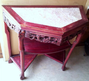Halfmoon Table Chinese Antique Solid Rosewood handcarved marble