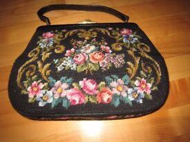 Vintage Hand Sewn Tapestry Handbag
