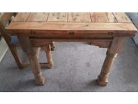 Solid Oak Extending Dining Table And 4 Ladderback Chairs