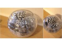Glass ridged fishbowl with crystal stone and acorn decoration
