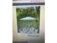 Garden Table - Rattan style with Parasol - no chairs