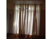 Curtains cream beautiful fabric 180inch x90 drop in each curtain