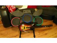 PS3 drum kit and guitar