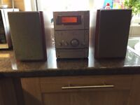 SONY stereo CMT-CPX1. CD player, radio tape deck, remote control and speakers