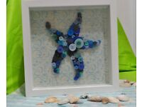 Handcrafted wall art_button starfish