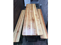Rarely used outdoor wood table and bench excellent condition german beer table picnic table