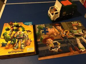 Toy story book/ puzzle / dump truck and mini figures