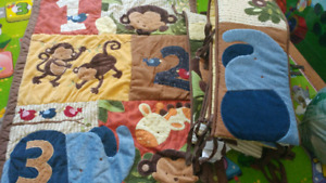 Crib sets (3 different sets) animal prints and winnie the pooh