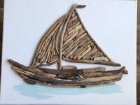 Original sailing boat Driftwood on canvas