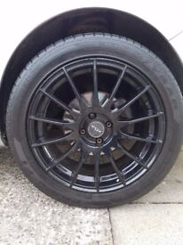 """Set of 4 17"""" Fox racing FX004 Black Alloys with tyres, good condition £250 (ono)"""