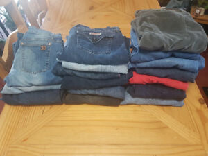 17 pairs of jeans (True Religion, Joe's, Hudson) size 32