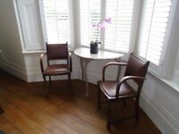 Pair of Character Oil Skin Armchairs