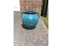 Beautiful glazed terracotta plant pot