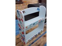 Spice rack, painted in light blue with decoupaged design, for spice jars or other small display