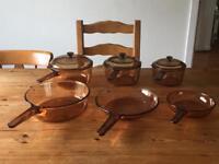 Amber Corning Vision Pyrex Glass 9 Pc Set Saucepans Frying Pans Casserole Pots Retro Vintage