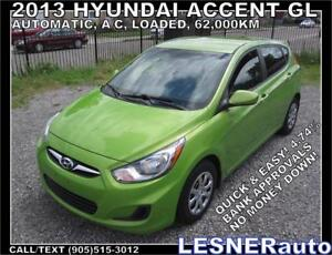 2013 HYUNDAI ACCENT GL -FACTORY WARRANTY BUMPER TO BUMPER! 62,KM