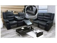 2+3 seater/black romina leather recliner sofa