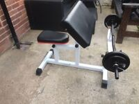 ADJUSTABLE PREACHER CURL BENCH PLUS A SOLID CURLING BAR WITH 15KG OF CAST IRON WEIGHTS