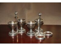 For Sale Silver Plated Egg Cups and stands, set of 4, choice of stand (2 or 4 cup) ornate edges.