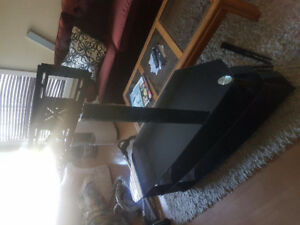 Glass TV stand with mount