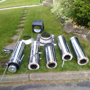 Complete stainless steel chimney pipe kit