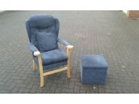 Sturdy Orthopaedic Style High Back Armchair & Footstool - excellent condition
