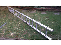 Aluminium ladder, 4.7metres long. Wide step.