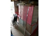 Glass shower Screen with Chrome stabilizer bar
